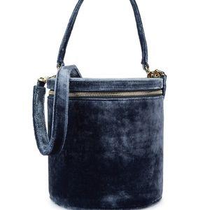 Staud Vitti Velvet Bucket Bag.  Blue